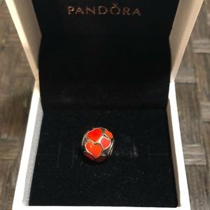 Pandora Silver charm with red and orange hearts